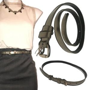 LOFT by Ann Taylor Brass Brown skinny belt